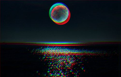 3-D moon and sea