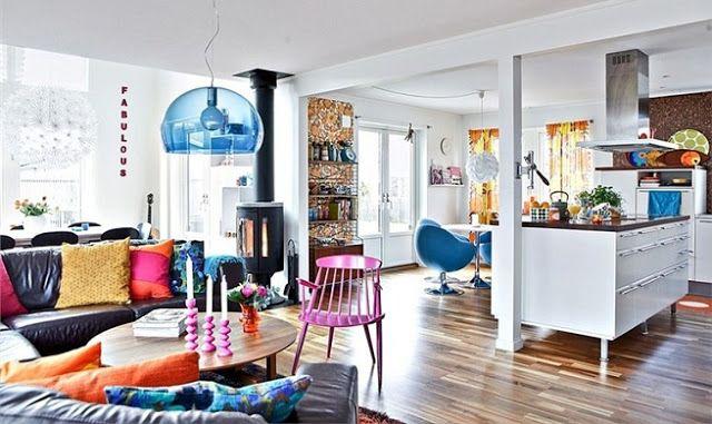 Natividad Sanchez. Interiorismo, decoración, diseño, muebles, moda...: Decoración nórdica en comedores con mucho color