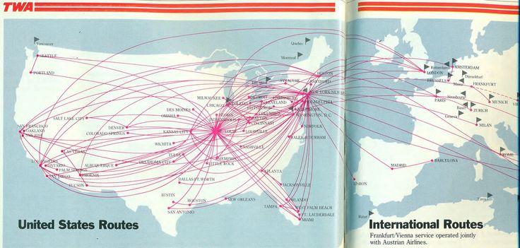 TWA domestic route map, Aug84