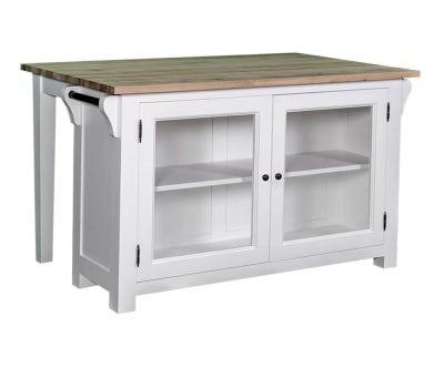 Ilôt de cuisine bois de pin et bois de chêne, blanc - L135