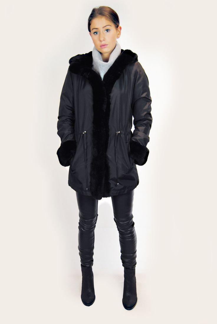 JESSIMARA BLACK SILK RABBIT FUR LINED COAT