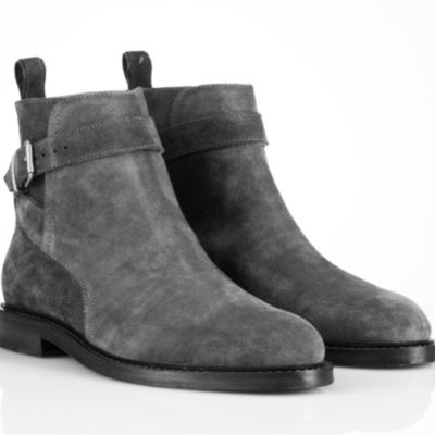 Handmade men jodhpur suede leather boots, mens gray fashion ankle high boots