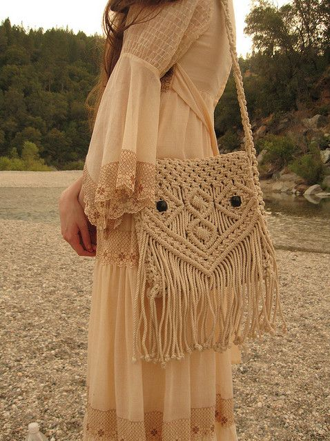 70s Macrame Owl Purse by Violet Folklore
