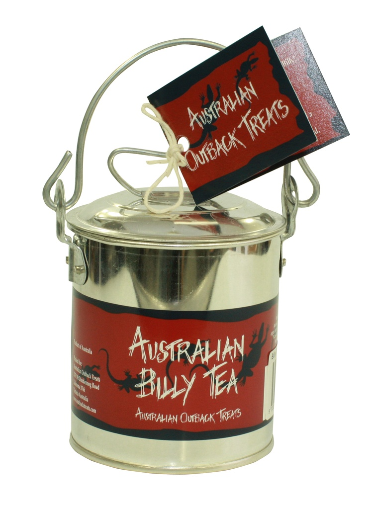 """Australian Billy Tea – Silver Billy Can With Gum Leaves: Traditionally when tea was made in the """"Bush"""" it was in a billy and a gum leaf was added for flavour."""