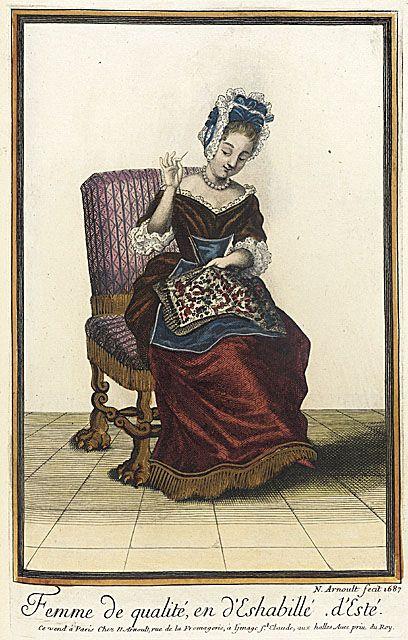 Recueil des modes de la cour de France, 'Femme de Qualité, en d'Eshabillé d'Esté'  Nicolas Arnoult  1687