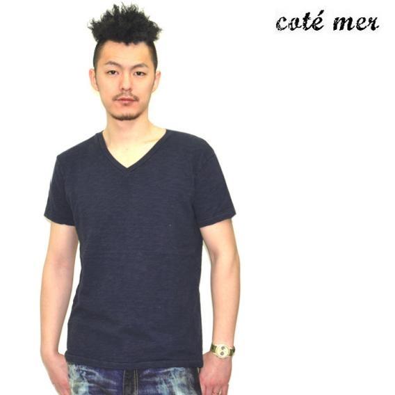 COTE MER (コートメール) Vネック Tシャツ スウェット地 ネイビー TC-S12-002 ts-cot-008