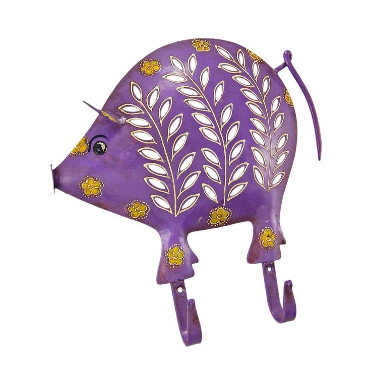 Distressed Finish Purple Pig 2 Hook Wall Mounted Coat Rack (Metal)