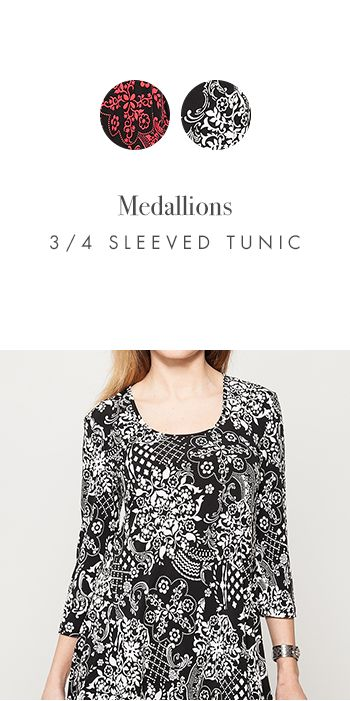 MEDALLIONS 3/4 SLEEVED TUNIC http://www.kimco.ca/product/medallions-u-neck-tunic/