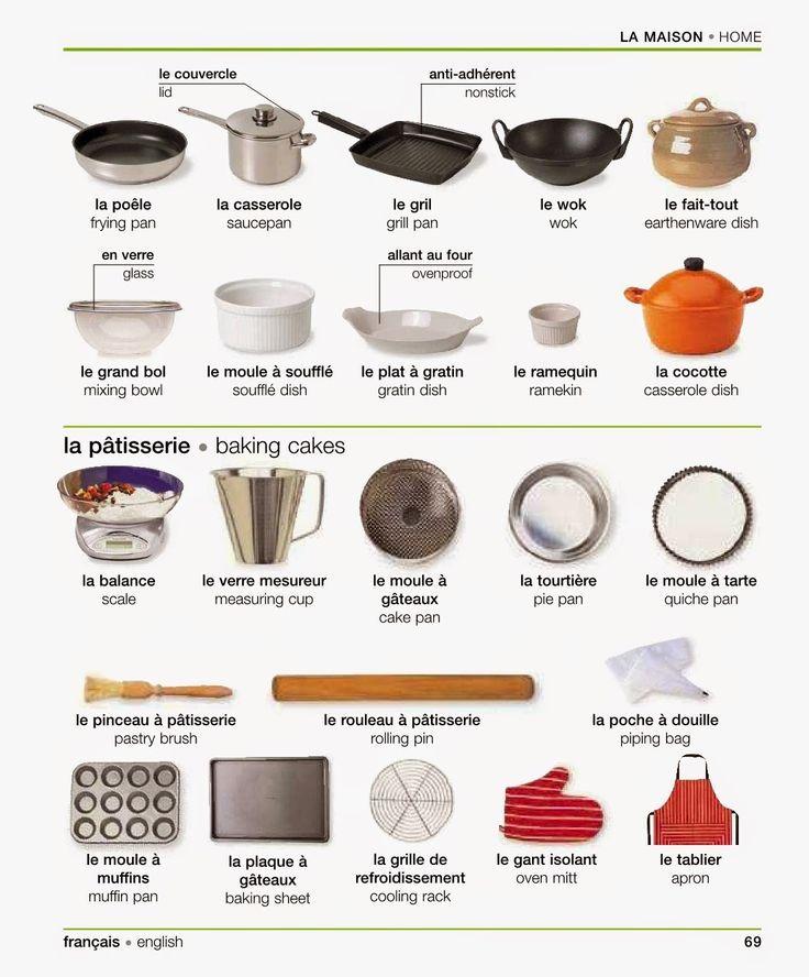 """Vocabulaire: """"[La maison:] Les ustensiles de cuisine / de pâtisserie"""" - Vocabulary: """"[Home:] Cookware, cooking utensils / Bakeware, Baking utensils"""". French-English Visual Dictionary."""