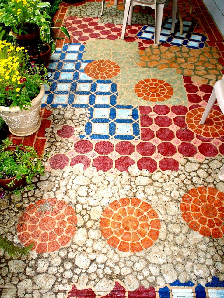 14 amazing painted floors - Concrete Tile Garden Decor