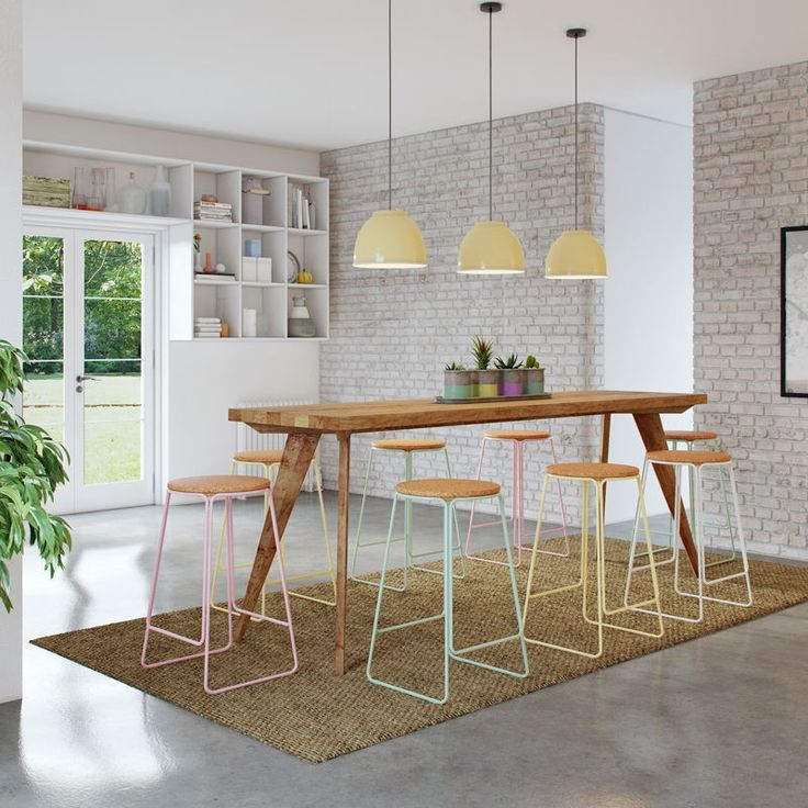 High Kitchen Bench: Modern Rustic Mid Century (2.5m) High Bench Table, Kitchen