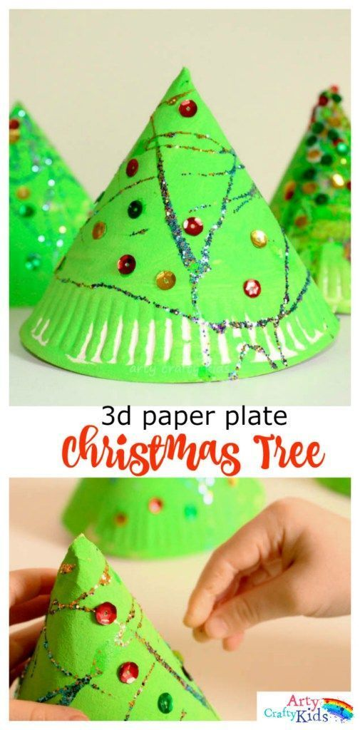 Cute Simple And Perfect For Toddlers Preschoolers This 3d Paper Plate Christmas Tree Craft Is Developing Fine Motor Skills While