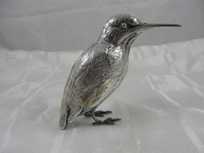 Zilveren tafelstuk in de vorm van een ijsvogel, Premselaar, Amsterdam, na 1951