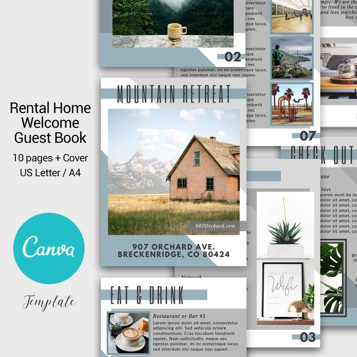 Guest Book Canva Template AirBnb House Guide