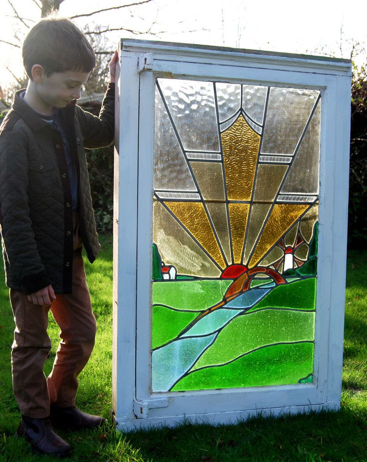 Large reclaimed art deco stained glass leaded window for 1930s stained glass window designs