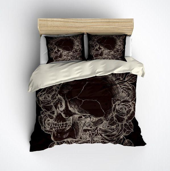 Chololate and Cream Skull Rose Bedding
