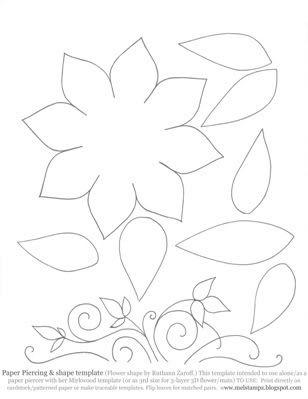 Faux or Paper piercing Template (Vine, Flower, & Leaves