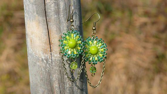 Long green chandelier earrings with brass chain