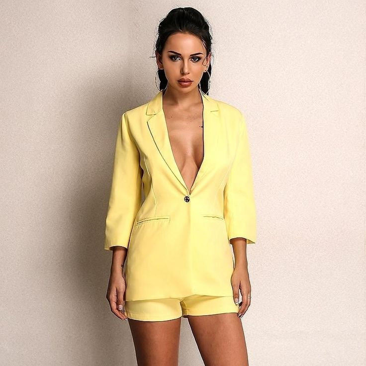 2 Piece Set Women's Long sleeve Blazer Jacket & Shorts Set