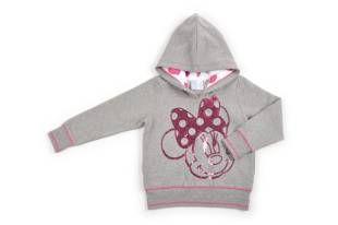 Sweater tipo jogging para niña, en color gris y con la cara de Minnie al frente, hecha con lentejuelas fuchsia y strass plateado.