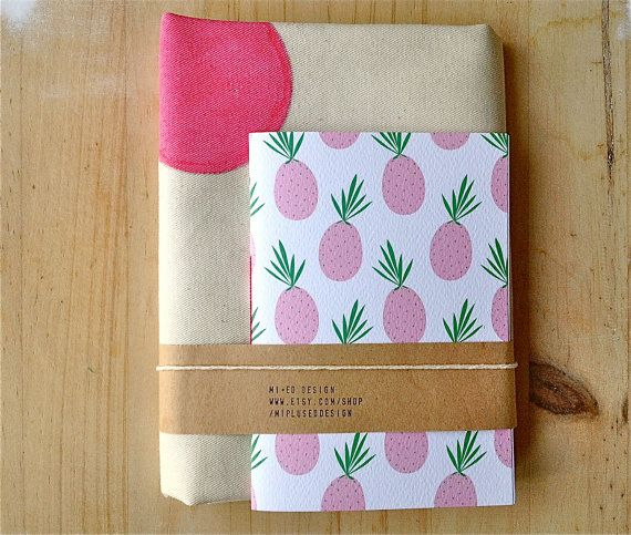 Gift Set Polka Dots Tote and Pineapple Jotter Eco Friendly Set