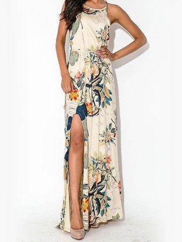 White Spaghetti Strap Patterned Backless Split Dress