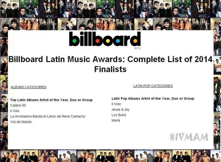 Felicidades por sus dos nominaciones a los Latin Billoard Awards #IlVolo #Billoards2014 #LatinMusicAwards