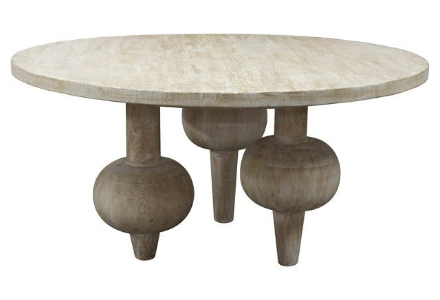 "Julie 60"" Round Dining Table, Graywash"