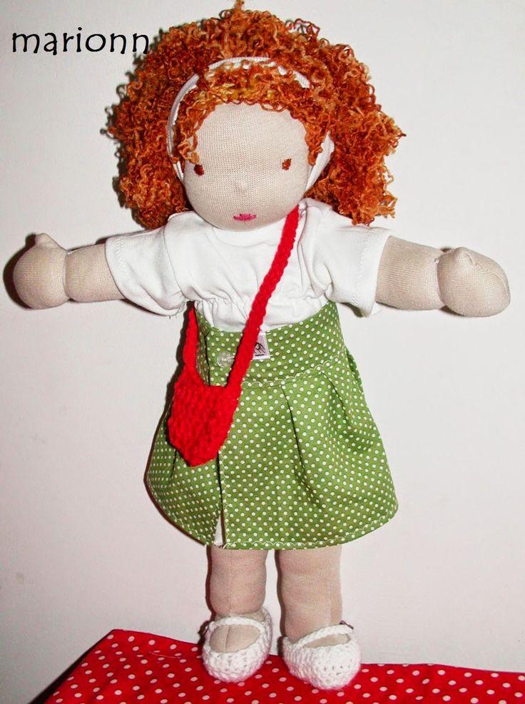 marionn tűdolgai: Pöndi hajú kislány pöttyös szoknyában waldorf baba