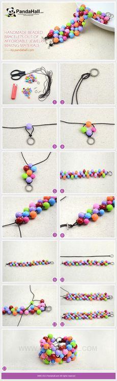 Jewelry Making Tutorial--DIY Beaded Neon Bracelet with Acrylic Beads