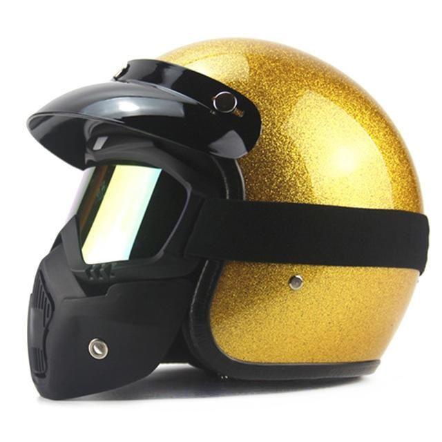 New Vintage Retro Motorcycle Helmet Cruiser Scooter Chopper Cafe Racer 3/4 Open Face Helmet DOT Motorbike Casco Moto Helmet