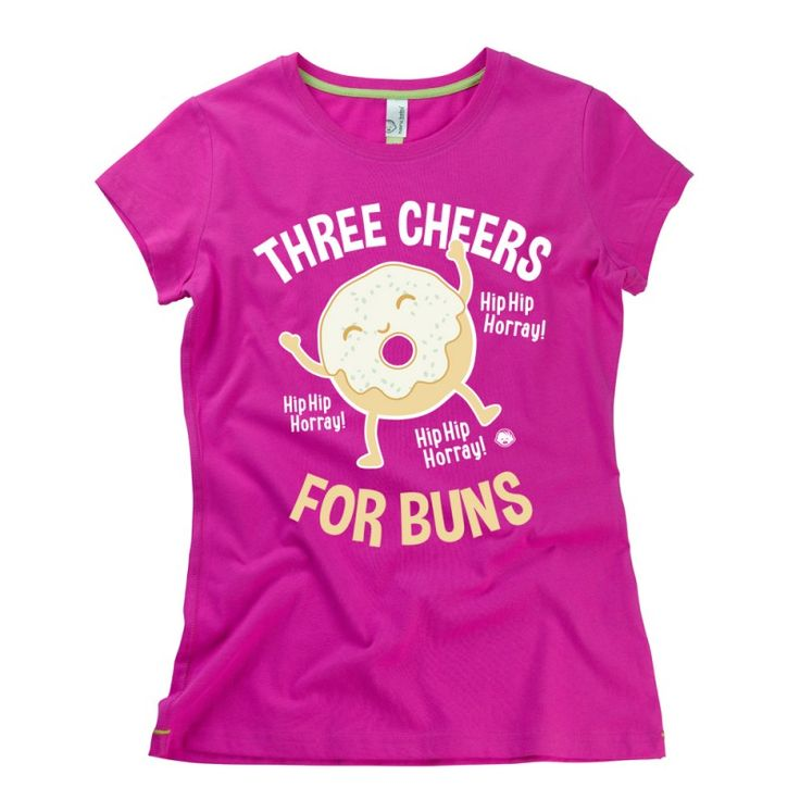 Three Cheers For Buns ladies t-shirt by hairybaby.com