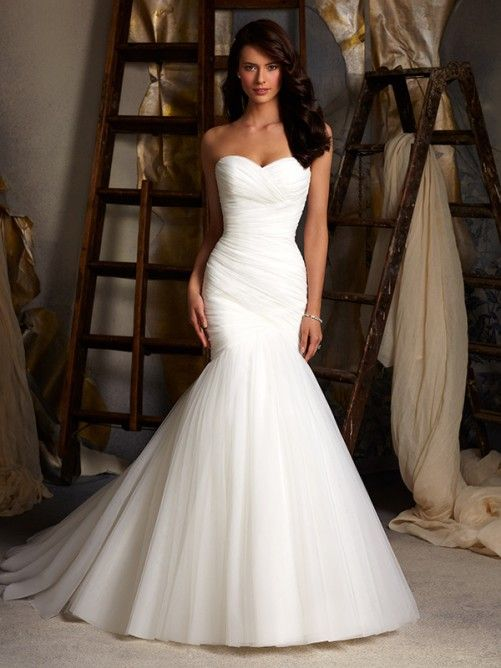 Trumpet/Mermaid Sweetheart Court Train Tulle Sleeveless Wedding Dresses