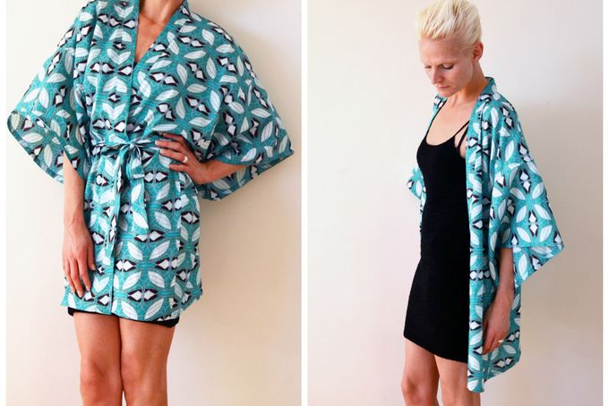African print kimono cover up / beach cover up / robe / ethnic print / boho / 100% cotton by Second Ann