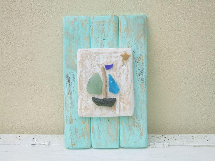 driftwood and sea glass boat - very cute idea