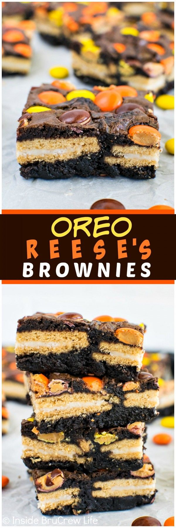 Oreo Reese's Brownies - these easy brownies are loaded with cookies and candies! Perfect dessert recipe!