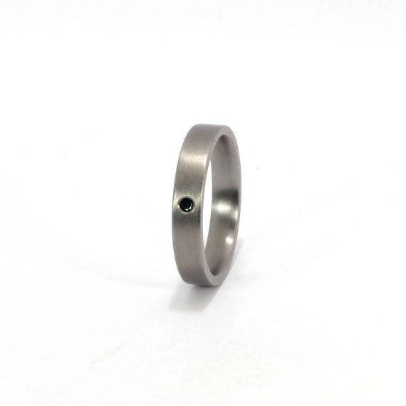 Titanium Ring with Black Diamond by Rosler on Etsy, $215.00