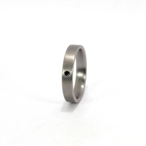 Titanium Ring with Black Diamond by Rosler on Etsy, $215.00