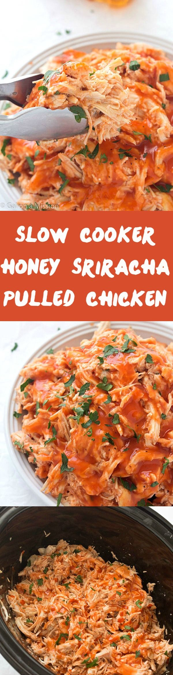 Slow Cooker Honey Sriracha Pulled Chicken - Moist and tender with a crazy delicious sauce! Perfect if you love honey sriracha wings - the flavor is almost identical! Makes the perfect pulled chicken sandwich and pulled chicken tacos!