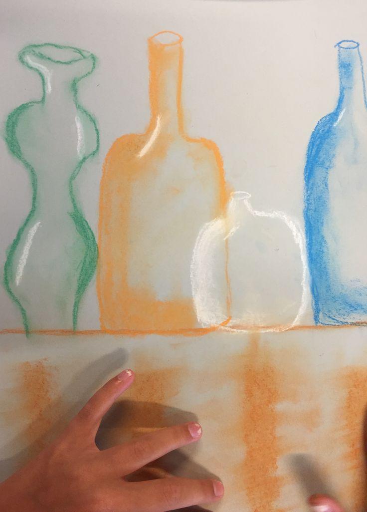 Teaching children, bottles, chalk