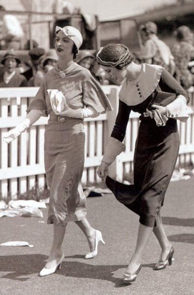 1932 Ascot Racecourse, June, 1932, Margaret Whigham, later Duchess of Argyll, and friend - A day out at Ascot Racecourse is very special and dressing for the occasion is an important part of the raceday experience.