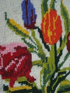 Tulip Love Vintage Cross Stitch Flower Art for by HappyGoVintage