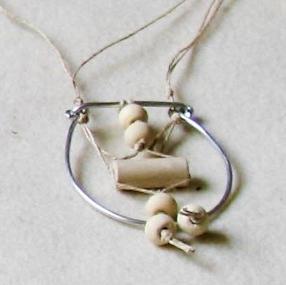 pendant handmade natural clay beads linen cord by totalhandmadeD, €15.00