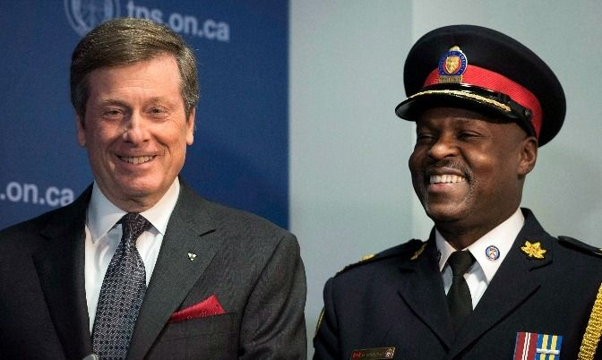 Toronto Mayor John Tory with recently appointed Police Chief Mark Saunders