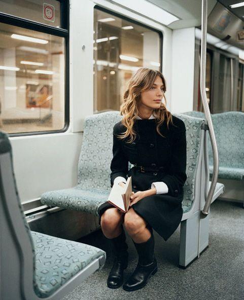Photo | LA COOL & CHIC | Bloglovin'  black trench coat, white blouse, black dress, black rider boots for those rainy days