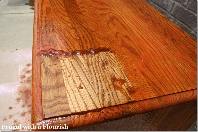Citri-strip spray stripper - the old finish from wood furniture literally comes off with a plastic scraper