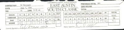 CGA GOLF TOUR SCORECARD ED MARINARO & DAVID ALEXANDER . $25.00. 1994 CELEBRITY GOLF ASSOCIATION EAST AUSTIN YOUTH CLASSIC (JUNE 3-5)THIS ROUND OF THE TOURNAMENT WAS HELD ON 6-5-94THIS WAS ED MARINARO'S SCORECARD WITH DAVID ALEXANDER AS THE MARKER. HAND SIGNED BY BOTH.AUTOGRAPHS ARE GUARANTEED TO PASS PSA/DNA OR JSA OR FULL REFUND. SPORTSLOT CERTIFICATE OF AUTHENTICITY (COA) INCLUDED.ITEM PICTURED IS ACTUAL ITEM BUYER WILL RECEIVE.
