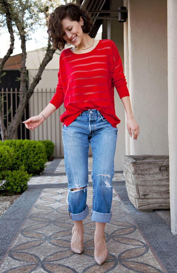 awesome top what-do-i-wear:  wearing vintage Levi 501s with aStyleMint Sinclair sweaterandJewelMint gold link necklaceandrings(image:...