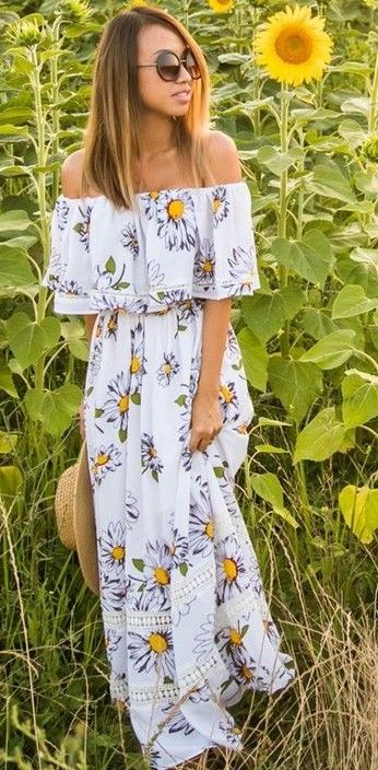 #summer #boho #chic #style | Off The Shoulder Floral Maxi Dress