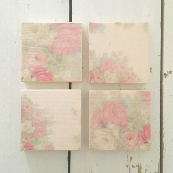 Chunky Floral Wooden Coaster Set, Wooden Coasters, Coaster Set, Wood Coasters, Floral Decor, Kitchen Decor, Drinks Coasters, Tableware, Gift